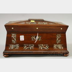 Mother-of-pearl Inlaid Mahogany Casket-form Tea Caddy