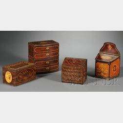 Four Grain Painted Biscuit and Candy Tins