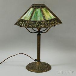 Bradley and Hubbard Metal Overlay and Slag Glass Table Lamp