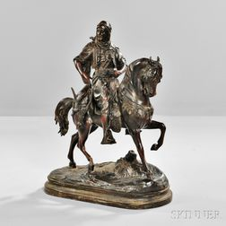 After Antoine-Louis Barye (French, 1795-1875)     Bronze of Arabian Horseman