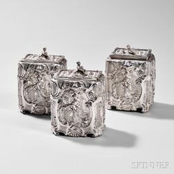 Three-piece George III Sterling Silver Tea Caddy Set