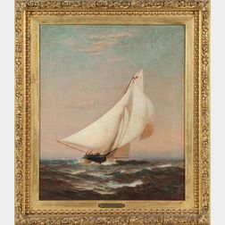 Warren Sheppard (New Jersey, 1858-1937)      Portrait of a Sailing Yacht Flying the Burgee of the New York Yacht Club