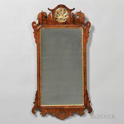 Walnut Veneer and Parcel-gilt Mirror