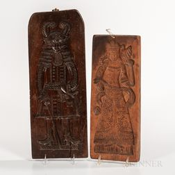 Two Carved Figural Cookie Boards