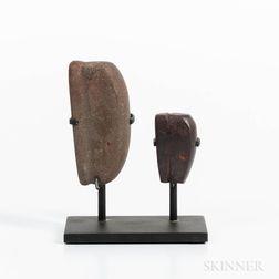 Two Hawaiian Stone Fishing Sinkers