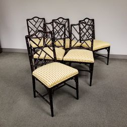 Set of Six George III-style Black-painted Bamboo-form Side Chairs