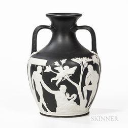 Wedgwood Black Decorated White Stoneware Portland Vase
