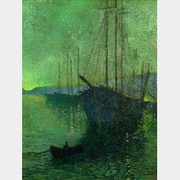George Housman Thomas (British, 1824-1868)    Harbor Nocturne