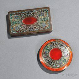 Two Austrian Sterling Silver and Enamel Compacts