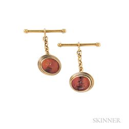 Gold and Hardstone Intaglio Cuff Links, Castellani