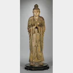 Life-Size Carved Wood Statue of Bonten