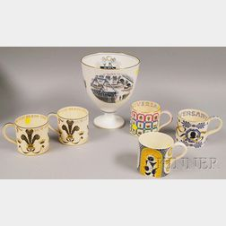 """Five Assorted Wedgwood Ceramic Collector's Mugs and a Large """"The Boat Race""""   Porcelain Vase.     Estimate $150-200"""