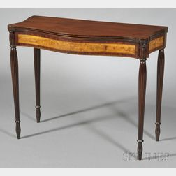 Federal Carved and Inlaid Mahogany and Flame Birch Veneer Card Table