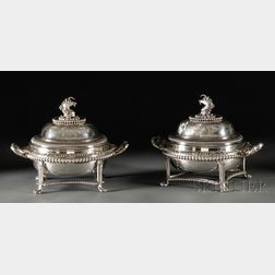 Assembled Pair of Paul Storr Covered Tureens and Associated Stands