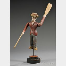 Carved and Polychrome-painted Wood Dandy Figure Advertising Whirligig
