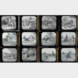 Thirteen Glass Magic Lantern Slides