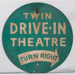 "Round ""Twin Drive-In Theater"" Sign"