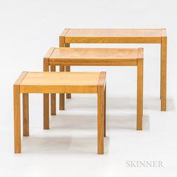 Set of Three Modern Cherry Nesting Tables