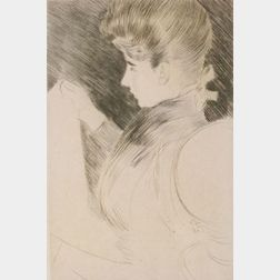 Paul Cesar Helleu (French, 1859-1927)  Lot of Two Prints Including: