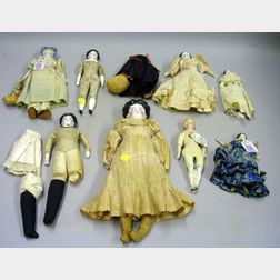 Eight China and Bisque Shoulder Head Dolls