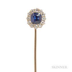 Antique Sapphire and Diamond Stickpin