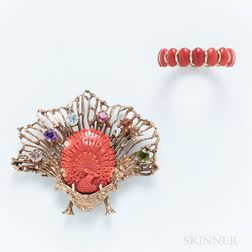 14kt Gold, Coral, and Gem-set Peacock Brooch and a 14kt Gold and Coral Ring