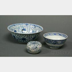 Three Pieces of Underglaze Blue Porcelain