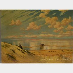 Woldemar Berg (American, 20th Century)      Quiet Beach with Dory and Seated Figure of a Man.