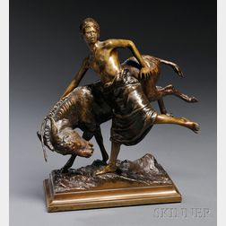 After Paul Aichele (German, 1859-1910)       Bronze Figure of a Blackamoor Boy with a Donkey
