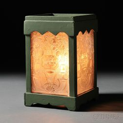 Lantern with Four Colorless Pressed Lacy Glass Panes with Steamboat and Thistle
