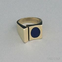 Danish Modernist 14kt Gold and Lapis Lazuli Ring