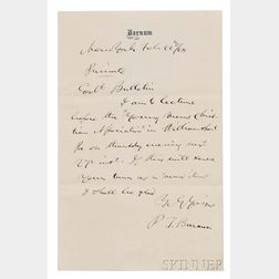 Barnum, Phineas T. (1818-1891) Autograph Note Signed, New York, 22 February 1868.