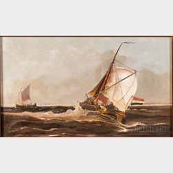 Johannes Frederick (John II) Hulk (Dutch, 1855-1913)    Fishing Ketches in Rough Seas
