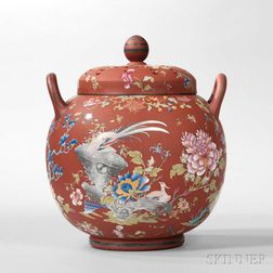 Wedgwood Enameled Rosso Antico Potpourri and Covers