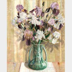 Laura Coombs Hills (American, 1859-1952)      Vase of Flowers - Irises