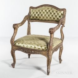 Carved and Painted Upholstered Walnut Prie-dieu