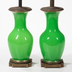 Pair of Green Glass Lamp Bases