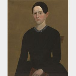 American School, 19th Century    Portrait of a Young Woman Wearing a Blue Dress and Holding a Book.