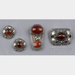 Sterling Silver and Amber Suite, Denmark