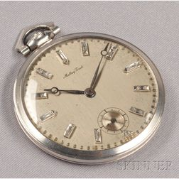 Art Deco Platinum and Diamond Open Face Pocket Watch, Mathey-Tissot
