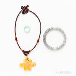 Three Pieces of Hardstone Jewelry