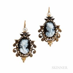 Antique Gold and Hardstone Cameo Earrings