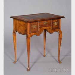 Small Queen Anne Style Walnut and Burl Veneer Dressing Table