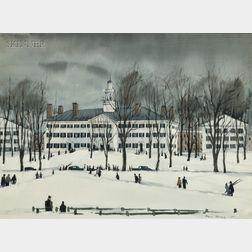 Paul Starrett Sample (American, 1896-1974)      Dartmouth Hall in Winter