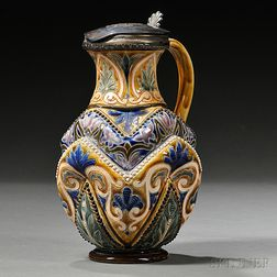 Doulton Lambeth Frank Butler Decorated Stoneware Pitcher