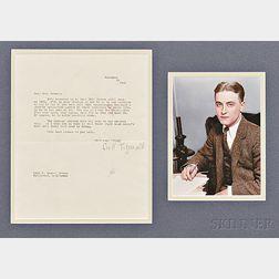 Fitzgerald, F. Scott (1896-1940) Typed Letter Signed, 25 November 1940.