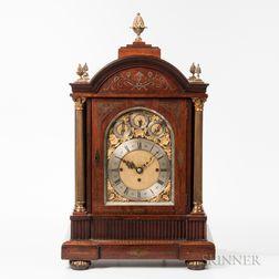 Large Brass-inlaid Rosewood Quarter-chiming Mantel Clock