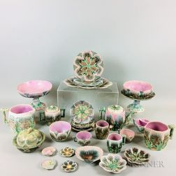 Thirty Pieces of Mostly Griffin, Smith & Hill Etruscan Majolica Shell-form Tableware