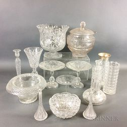 Fifteen Pieces of Colorless Cut Glass Tableware