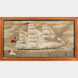 Large Woolwork Picture of the British Sailing Ship Amelia